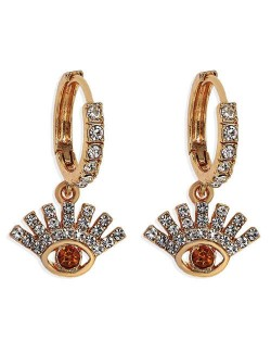 Rhinestone Embellished Shining Eye Pendant Design Small Hoop Fashion Women Earrings - Red