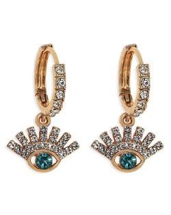Rhinestone Embellished Shining Eye Pendant Design Small Hoop Fashion Women Earrings - Green