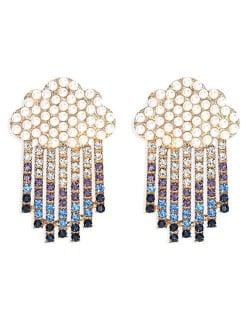 Cloud Raining Design Shining Rhinestone High Fashion Women Stud Earrings - Blue