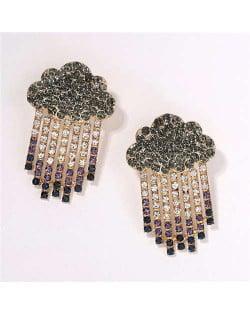 Cloud Raining Design Shining Rhinestone High Fashion Women Stud Earrings - Green