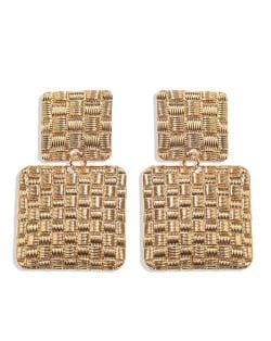 Metallic Texture Squares Combo Design High Fashion Women Stud Earrings - Golden