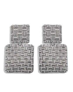 Metallic Texture Squares Combo Design High Fashion Women Stud Earrings - Silver