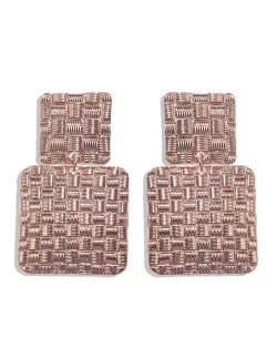 Metallic Texture Squares Combo Design High Fashion Women Stud Earrings - Rose Gold