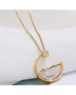 Simple Moon and Star Creative Combo Design Korean Fashion Women Statement Necklace - Transparent