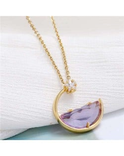Simple Moon and Star Creative Combo Design Korean Fashion Women Statement Necklace - Purple