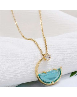 Simple Moon and Star Creative Combo Design Korean Fashion Women Statement Necklace - Green