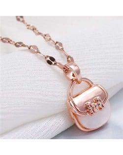 Cubic Zirconia Cute Handbag Pendant Design High Fashion Women Necklace - Rose Gold
