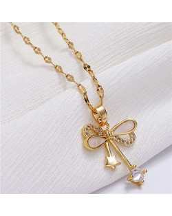 Star and Cubic Zirconia Embellished Bowknot Pendant Korean Fashion Women Copper Necklace - Golden