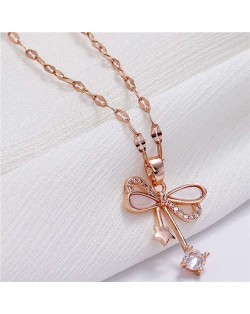 Star and Cubic Zirconia Embellished Bowknot Pendant Korean Fashion Women Copper Necklace - Rose Gold