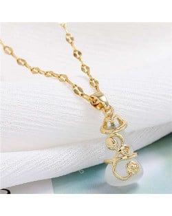 Lucky Gourd Pendant Korean Fashion Women Costume Necklace - Golden