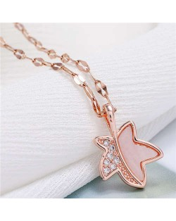 Shining Maple Pendant Design High Fashion Women Costume Necklace - Rose Gold