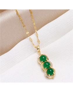 Gorgeous Pea Pendant Korean Fashion Women Copper Costume Necklace - Golden
