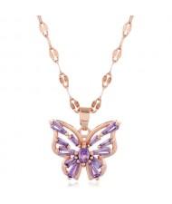 Korean Fashion Cubic Zirconia Hollow Butterfly Pendant Women Copper Necklace - Purple