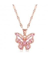 Korean Fashion Cubic Zirconia Hollow Butterfly Pendant Women Copper Necklace - Pink