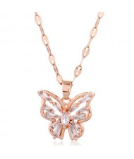 Korean Fashion Cubic Zirconia Hollow Butterfly Pendant Women Copper Necklace - Transparent