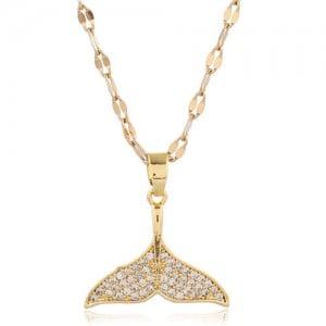 Whale Tail Pendant Cubic Zirconia High Fashion Women Copper Necklace - Golden