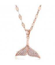 Whale Tail Pendant Cubic Zirconia High Fashion Women Copper Necklace - Rose Gold