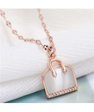 Opal and Cubic Zirconia Embellished Handbag Pendant High Fashion Women Copper Necklace - Rose Gold