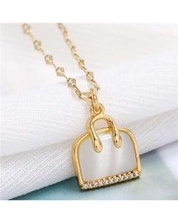 Opal and Cubic Zirconia Embellished Handbag Pendant High Fashion Women Copper Necklace - Golden