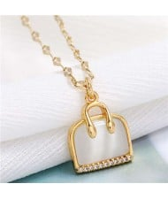Opal and Cubic Zirconia Embellished Handbag Pendant High Fashion Women Copper Necklace - Golden
