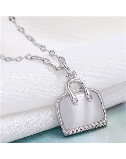 Opal and Cubic Zirconia Embellished Handbag Pendant High Fashion Women Copper Necklace - Silver