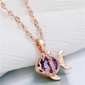 Tropical Fish Pendant Korean Fashion Women Copper Necklace - Purple