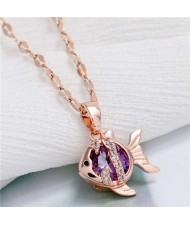 Tropical Fish Pendant Korean Fashion Women Copper Necklace - Purple