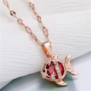 Tropical Fish Pendant Korean Fashion Women Copper Necklace - Red
