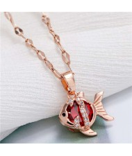 Tropical Fish Pendant Korean Fashion Women Copper Necklace - Red