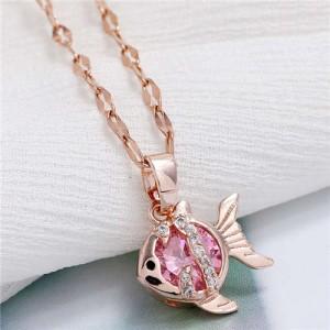 Tropical Fish Pendant Korean Fashion Women Copper Necklace - Rose