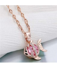 Tropical Fish Pendant Korean Fashion Women Copper Necklace - Rose
