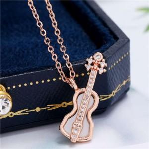 Guitar Pendant High Fashion Women Copper Costume Necklace - Rose Gold