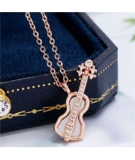 Guitar Pendant High Fashion Women Copper Costume Necklace - Rose Gold