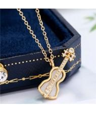 Guitar Pendant High Fashion Women Copper Costume Necklace - Golden