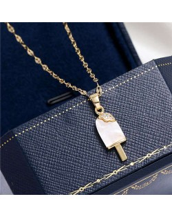 Cubic Zirconia Embellished Opal Popsicle Pendant High Fashion Women Costume Necklace - Golden