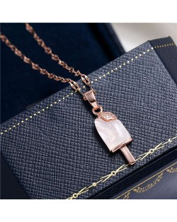 Cubic Zirconia Embellished Opal Popsicle Pendant High Fashion Women Costume Necklace - Rose Gold
