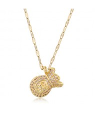 Cubic Zirconia Money Bag Pendant High Fashion Women Necklace - Golden