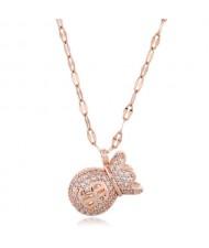 Cubic Zirconia Money Bag Pendant High Fashion Women Necklace - Rose Gold