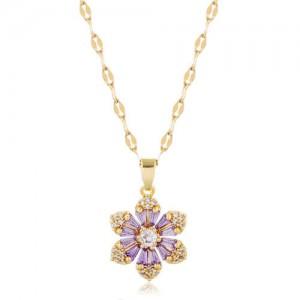 Cubic Zirconia Glistening Flower Pendant Korean Fashion Women Copper Costume Necklace - Golden and Purple