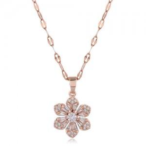 Cubic Zirconia Glistening Flower Pendant Korean Fashion Women Copper Costume Necklace - Transparent