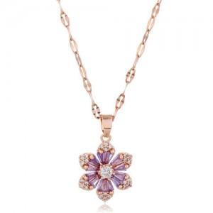Cubic Zirconia Glistening Flower Pendant Korean Fashion Women Copper Costume Necklace - Rose Gold and Purple