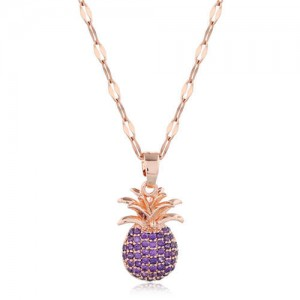 Cubic Zirconia Pineapple Pendant Women Copper Fashion Necklace - Purple