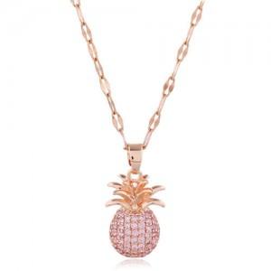 Cubic Zirconia Pineapple Pendant Women Copper Fashion Necklace - Pink
