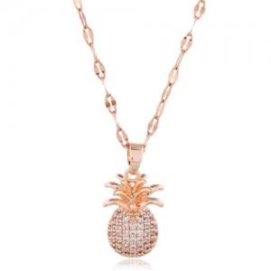 Cubic Zirconia Pineapple Pendant Women Copper Fashion Necklace - White