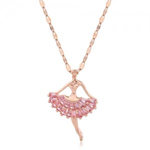 Romantic Dancer Pendant High Fashion Cubic Zirconia Women Costume Necklace - Rose Gold and Pink