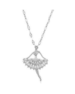 Romantic Dancer Pendant High Fashion Cubic Zirconia Women Costume Necklace - Silver