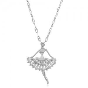 Romantic Dancer Pendant High Fashion Cubic Zirconia Women Costume Necklace - Silver