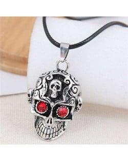 Vintage Red Eye Skull Punk Fashion Rope Necklace