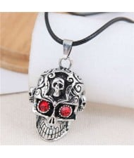 Vintage Red Eye Skull Punk Fashion Rope Necklace