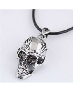 Clouds Engraving Vintage Silver Punk High Fashion Skull Pendant Rope Necklace